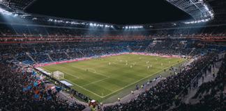Fußballstadion beim Spiel